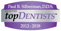 USA Top Dentists Award 2012-2018 logo showing recognition for Dr. Silberman, a dentist in Waldorf, MD