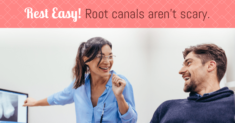 A dentist explains to a patient why root canals aren't scary.